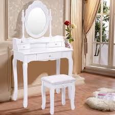 White Shabby Chic Dressing Table by Costway White Vanity Wood Makeup Dressing Table Stool Set Bedroom