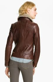 ted baker leather jacket with genuine shearling collar in brown lyst
