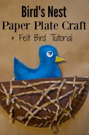 nest spring paper plate craft for kids