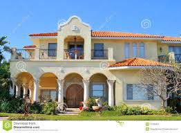 spanish style waterfront home stock photography image 17929452