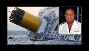 Concordia inchinata e Schettino