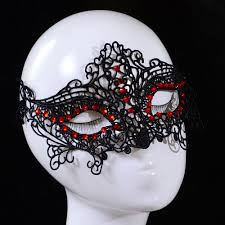 halloween mask costumes new design women lace face eye mask masquerade ball red crystal
