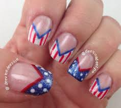 fourth of july chevron french tip manicure youtube
