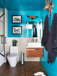 paint color ideas for small bathrooms diy network blog made modern small bathroom with bold teal walls floating vanity and animal wall decor
