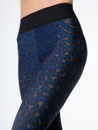 Blue Leopard Print by Ultra High Lux Leopard Print Leggings In Oxford Blue Steel