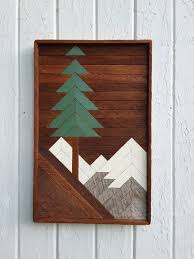 Art On Walls Home Decorating by Reclaimed Wood Wall Art Mountain Pine Tree Scene 20