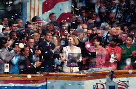 1996 election u s presidential history president bill clinton hillary clinton vice president al gore senator paul simon and others on stage celebrating the nomination of bill clinton as the