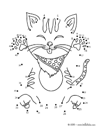 funny cat dot to dot game coloring pages hellokids com