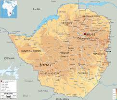 Physical Map Africa by Physical Map Of Zimbabwe Ezilon Maps