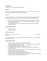 Example Server Resume by Resume Career Objective Examples Waitress