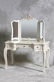 Vintage White Bedroom Furniture Classic Style Trifold Mirror Vanity Dressing Table With Vintage