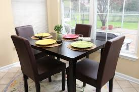 Brown Dining Room Table Amazon Com 5 Pc Espresso Leather Brown 4 Person Table And Chairs