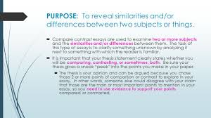 COMPARE AND CONTRAST ESSAY WRITING  PURPOSE  To reveal     SlidePlayer