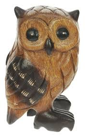 hand carved owl in tree ornament decorative wooden carving