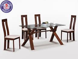 buy olive glass top dining table with 4 chairs online in delhi