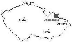 schématická mapka ČR s vyznačením Osoblažska