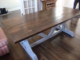 Farmhouse Kit 7 Ft Trestle Style Farm Table With Dark Walnut Stained Top And