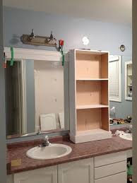Bathroom Cabinet With Mirror And Light by Large Bathroom Mirror Redo To Double Framed Mirrors And Cabinet