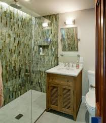 small bathroom with marble vanity shower room and green wall tiles