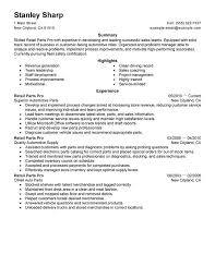 Automotive Parts Resume   fashion retail resume