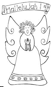 angel singing hallelujah coloring page for kids printable