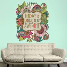 wall murals wall stencils wall stickers kids wall art kids room floral quote art wall sticker decal today is going to be awesome by valentina harper