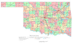Large Map Of Usa by Large Detailed Administrative Map Of Oklahoma State With Roads