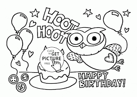 funny owl on the birthday card coloring page for kids holiday