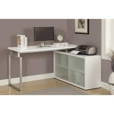 Modern White Office Desks Monarch Specialties Hollow Core 2 In 1 Piece White Office Suite I