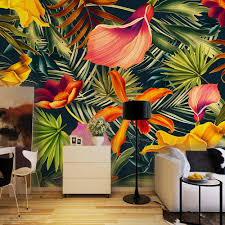 online get cheap large wall murals aliexpress com alibaba group custom wall mural tropical rainforest plant flowers banana leaves backdrop painted living room bedroom large mural