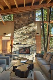 Designing Living Rooms With Fireplaces Stacked Stone Fireplace Designs And The Decors Around Them