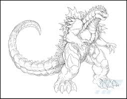 cartoon animated godzilla coloring page throughout pages eson me