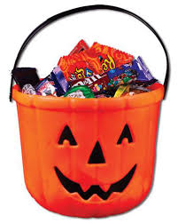 pumpkin bucket as trick or treat candy container horror shop com
