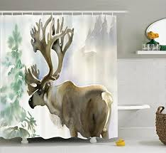Moose Bathroom Accessories by Antlers Decor Shower Curtain Set By Ambesonne Moose In Winter