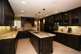 unusual dark kitchen design with cream tile backsplash and dark