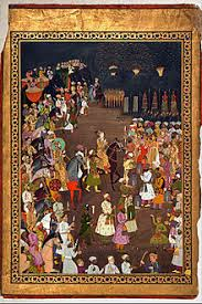 The Mughal Emperor Shah Jahan attends the marriage procession of his eldest son Dara Shikoh  Mughal Era fireworks were utilized to brighten the night