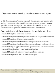 physical therapist assistant resume examples sample of customer service resume sample resume and free resume sample of customer service resume cashiercustomer service resume samples top8customerservicespecialistresumesamples 150424214916 conversion gate01 thumbnail