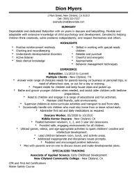 Job Duties On Resume by Best Babysitter Resume Example Livecareer