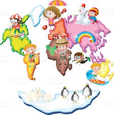 Kids World Map World Map With Kids And Animals Stock Vector Art 686150002 Istock