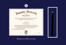 Duquesne University Diploma   BA MA and  Pre       Doctorate Frame with Medallion and Tassel Cut out and Navy Blue and Silver Double Mat and Silver