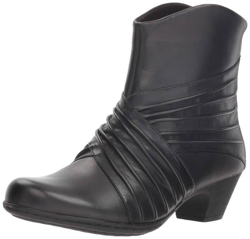 Rockport Brynn Leather Closed Toe Ankle Fashion Boots, Black,