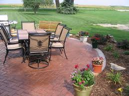 exterior casual backyard and exterior design using grey patio