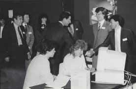 HRH Prince Charles shakes hands with George Fellas of Corby \u0026amp; Fellas during \u0026#39;The Princes Trust\u0026#39; find raising event held in Gt. Yarmouth (circa 1984). - history