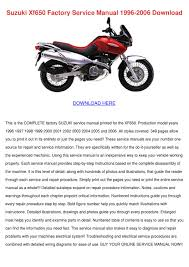 suzuki xf650 factory service manual 1996 2006 by luci jacobi issuu