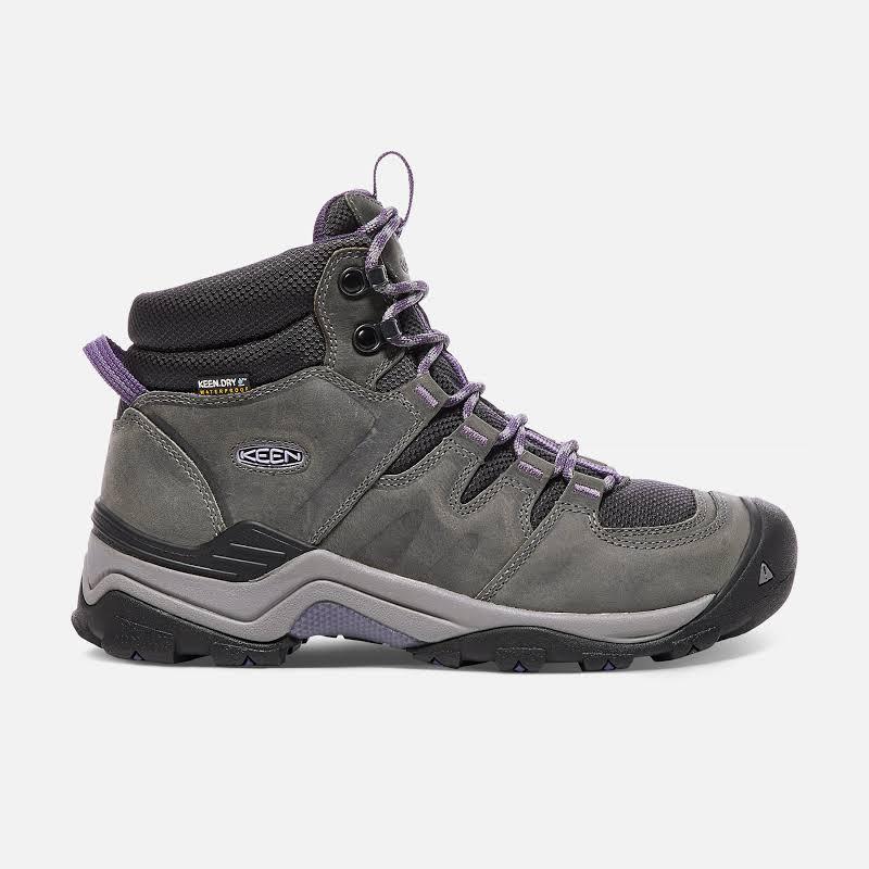 KEEN Gypsum Ii Mid Waterproof Hiking Boots Earl Grey/Purple Plumeria 6.5 US 1017679-1-6.5