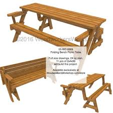 Building Plans For Picnic Table Bench by 05 Wc 0689 Folding Bench Picnic Table Woodworking Plan With Full