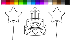 learn colors for kids and color birthday star cake coloring pages
