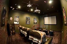 glamorous home movie theater rooms with pink yellow wall accent