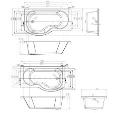 cassellie tempest p shape shower bath with screen and front panel
