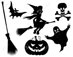 halloween silhouettes witch pumpkin witches broom skeleton
